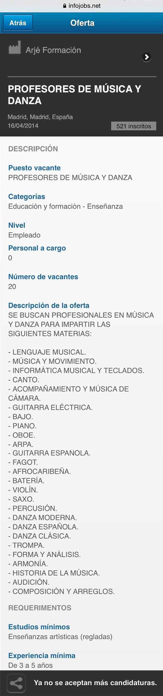 Oferta en Infojobs (16 de abril de 2014)